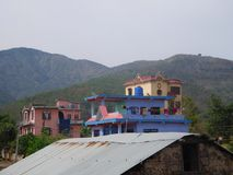 Hills and houses, Birendranagar, Surkhet stock image