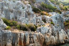 Hills of Kekova, ancient city, green trees, Turkey. Famous touristic place royalty free stock images