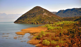 Hills on the lake, natural landscape of Skadar lake Royalty Free Stock Images
