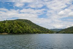 Hills on Lake Solinskim, Poland stock photos