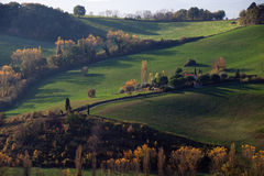 Hills landscape. Panoramic view of hills in an autumn afternoon Stock Photos