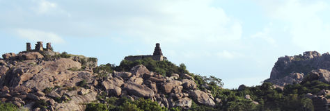 Hills landscape with ruined old temple Royalty Free Stock Image