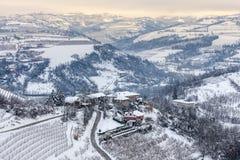 Hills of Langhe in winter. Stock Image