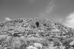 The Hills in Lapsi, Malta in monochrome. The Hills located in Lapsi area, Malta in black and white Stock Image