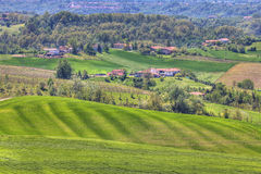 Hills and meadows of Piedmont. Northern Italy. Royalty Free Stock Photography