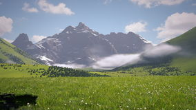 Hills and Mountains. Camera Panning on green hills landscape stock footage