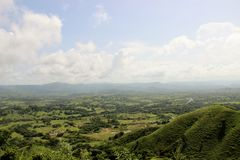 Hills and mountains of the Dominican Republic. View from hills to the Dominican Republic royalty free stock photography
