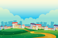 Hills near the village. Illustration of the hills near the village Royalty Free Stock Photography