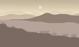 Hills at night scenery with river Royalty Free Stock Image