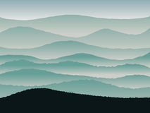Hills panorama vector blue illustration background. Stock Image