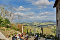 Hills panoramic view restaurant. San Gimignano. Tuscany. Italy Stock Images
