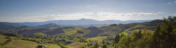 Hills panoramic view in Tuscany Stock Photos