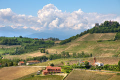 Hills of Piedmont at spring. Northern Italy. Stock Photography