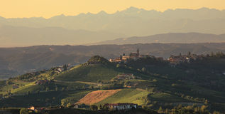Hills of Piedmont at sunset. Royalty Free Stock Images