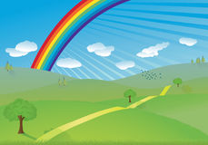 Hills and rainbow vector Royalty Free Stock Photography