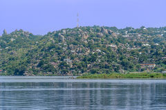 Hills and Rocks with houses in Mwanza on the shore of Lake Victo Royalty Free Stock Image