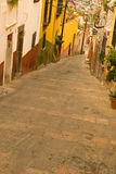 Hills of San Miguel de Allende. The narrow, hillside streets of colorful San Miguel Allende Mexico royalty free stock image