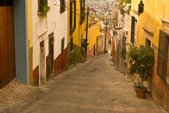 Hills of San Miguel de Allende, Mexico. The narrow, hillside streets of colorful San Miguel Allende Mexico royalty free stock photo