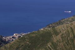 Hills and Seas. In genoa landscape blu brown green and gray are the colours of summer Royalty Free Stock Photo