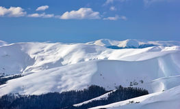 Hills. And slopes in winter Royalty Free Stock Photos