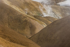 Hills with Steam Kerlingarfjoll Iceland Stock Image
