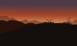 Hills at sunset scenery Royalty Free Stock Image