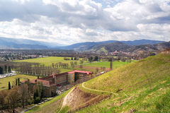 Hills and town in Sllovenia. View on hills and vineyards from Kalvarija hill. City of Maribor in the background. Slovenia, Europe royalty free stock photo