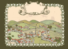 Hills and town vintage ticket Stock Image