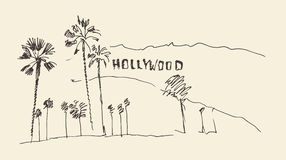 Hills and trees engraving  illustration, hollywood Royalty Free Stock Photography