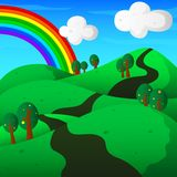 Hills with trees and rainbow landscape Stock Photography