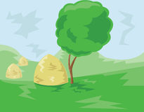 Hills Valley and Stacks of Hay illustration Royalty Free Stock Photo