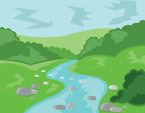 Hills Valley and Streams Vector Illustration Royalty Free Stock Photography