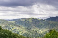 Hills and valleys in Rancho Canada del Oro Open Space Preserve on a stormy spring day, California stock photo