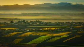 Gentle hills. Hills, villages and mountains in Bucovina, near the city of Suceava stock photography
