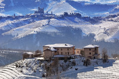 Hills and vineyards of Piedmont covered with snow. Royalty Free Stock Image