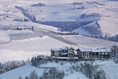Hills and vineyards of Piedmont covered with snow. Stock Photography