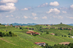 Hills and vineyards of Piedmont, Italy. Royalty Free Stock Photo