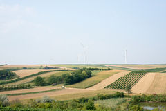 Hills with wind power station Stock Images