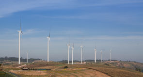 Hills and wind turbines Stock Image
