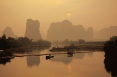 Hills of yangshuo. Famous landscape with the hills of yangshuo china by sunrise Royalty Free Stock Image