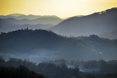 Hills of Zagorje. Beautiful hills of Zagorje county, Croatia, taken from Vinagora hill at sunset Stock Photography