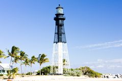 Hillsboro Lighthouse, Pompano Beach, Florida, USA. Outdoor, outdoors, outside, exterior, exteriors, america, north, united, states, southeast, inlet royalty free stock images