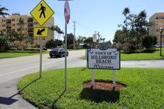 Hillsboro plaży znak powitalny Zdjęcia Royalty Free