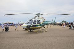 Hillsborough County Sheriff Helicopter On Display. At McDill Air Force Base in Tampa, Florida royalty free stock image