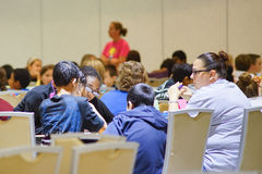 Hillsborough county 5th Grade Math Bowl competition: Students work with team Royalty Free Stock Photo