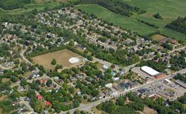 Hillsburgh Ontario, aerial. Aerial view of the small community of Hillsburgh north of the Halton Hills area of Ontario Canada royalty free stock image