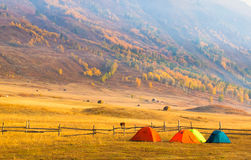 Hillside camping @ Hemu, Xinjiang China Royalty Free Stock Photos