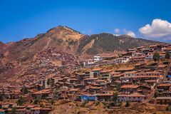 Homes and houses in Cusco city in Peru. Hillside homes and houses in the suburb of Cusco city, Peru, South America Stock Photography