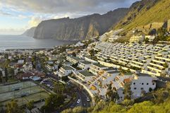 Hillside hotels and high cliffs Tenerife Canary Islands royalty free stock photo