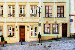 Hillside house in the old town of Luxembourg Royalty Free Stock Image